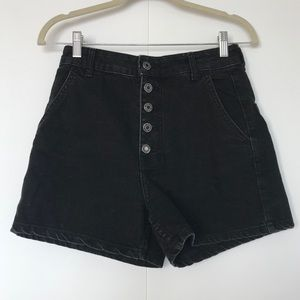 BERSHKA | EXPOSED BUTTON HIGH WAISTED SHORTS